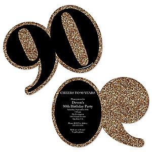 Adult 90th Birthday - Gold - Shaped Birthday Party Invitations - Set of 12