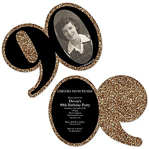Adult 90th Birthday - Gold - Personalized Shaped Photo Birthday Party Invitations - Set of 12