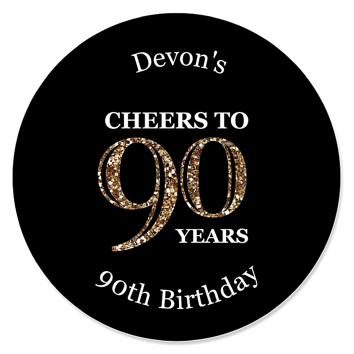 Adult 90th Birthday - Gold - Personalized Birthday Party Sticker Labels - 24 ct