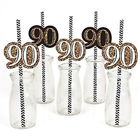Adult 90th Birthday - Gold - Paper Straw Decor - Birthday Party Striped Decorative Straws - Set of 24