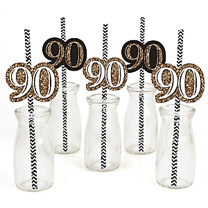 Adult 90th Birthday - Gold - Paper Straw Decor - Birthday Party Striped Decorative Straws - Set of 24