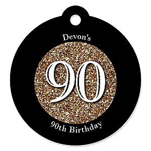 Adult 90th Birthday - Gold - Round Personalized Birthday Party Tags - 20 ct