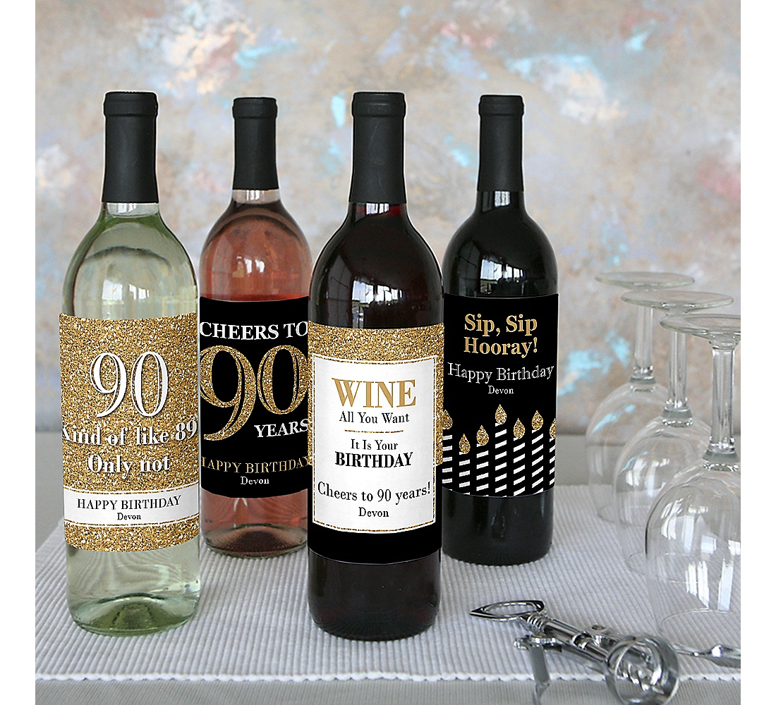 Adult 90th Birthday Gold Decorations For Women And Men Wine Bottle Label Birthday Party Gift Set Of 4