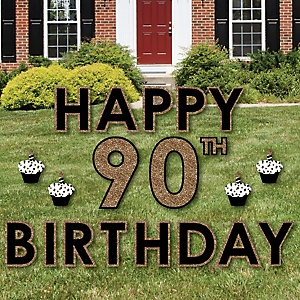 Happy 90th Birthday - Gold - Yard Sign Outdoor Lawn Decorations - Adult 90th Birthday Yard Signs