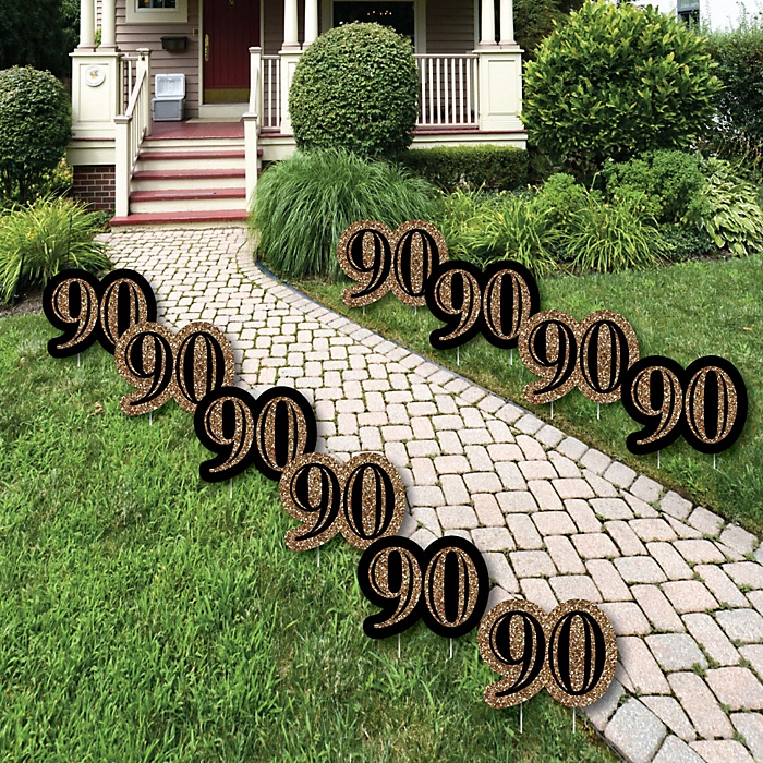 Adult 90th Birthday - Gold Lawn Decorations - Outdoor Birthday Party Yard Decorations - 10 Piece