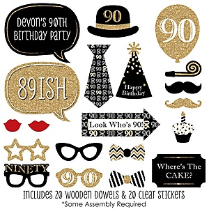 Adult 90th Birthday - Gold - 20 Piece Birthday Party Photo Booth Props Kit