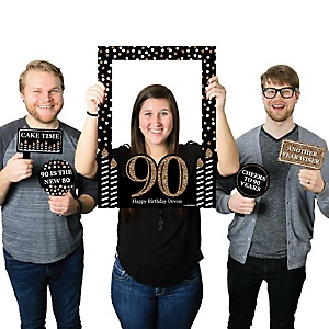 Adult 90th Birthday - Gold - Personalized Birthday Party Selfie Photo Booth Picture Frame & Props - Printed on Sturdy Material