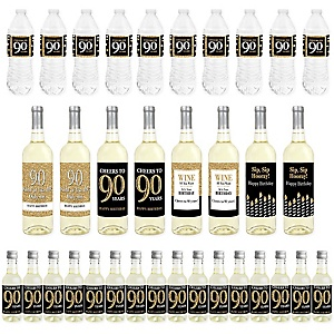 Adult 90th Birthday - Gold - Mini Wine Bottle Labels, Wine Bottle Labels and Water Bottle Labels - Birthday Party Decorations - Beverage Bar Kit - 34 Pieces