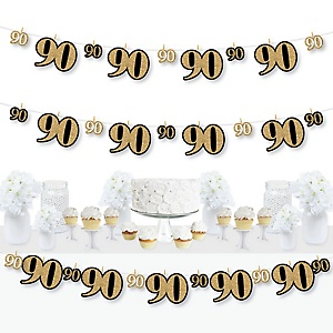 Adult 90th Birthday - Gold - Birthday Party DIY Decorations - Clothespin Garland Banner - 44 Pieces