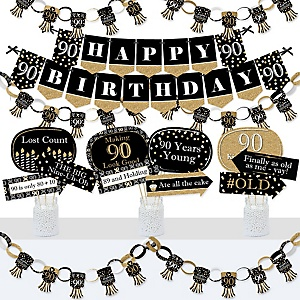 Adult 90th Birthday - Gold - Banner and Photo Booth Decorations - Birthday Party Supplies Kit - Doterrific Bundle