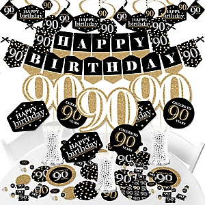 Adult 90th Birthday - Gold - Birthday Party Supplies - Banner Decoration Kit - Fundle Bundle
