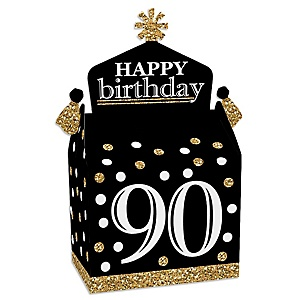 Adult 90th Birthday - Gold - Treat Box Party Favors - Birthday Party Goodie Gable Boxes - Set of 12
