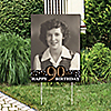 Adult 90th Birthday - Gold - Photo Yard Sign - Birthday Party Decorations