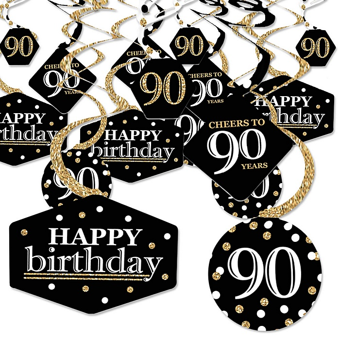 Adult 90th Birthday - Gold - Birthday Party Hanging Decor - Party Decoration Swirls - Set of 40
