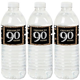 Adult 90th Birthday - Gold - Birthday Party Water Bottle Sticker Labels - Set of 20
