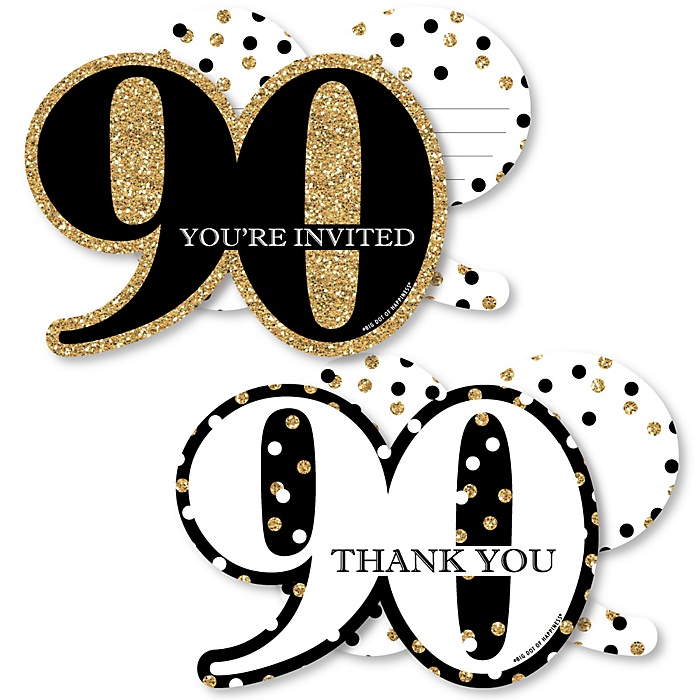 Adult 90th Birthday - Gold - 20 Shaped Fill-In Invitations and 20 Shaped Thank You Cards Kit - Birthday Party Stationery Kit - 40 Pack
