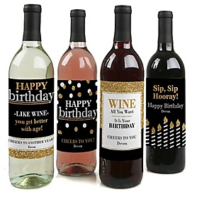 Adult Happy Birthday - Gold - Decorations for Women and Men - Wine Bottle Label Birthday Party Gift - Set of 4