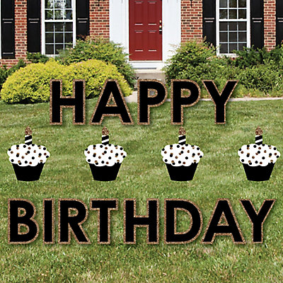 Adult Happy Birthday Gold Yard Sign Outdoor Lawn