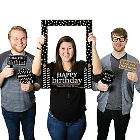 Adult Happy Birthday - Gold - Personalized Birthday Party Selfie Photo Booth Picture Frame & Props - Printed on Sturdy Material
