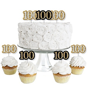 Adult 100th Birthday - Gold - Dessert Cupcake Toppers - Birthday Party Clear Treat Picks - Set of 24