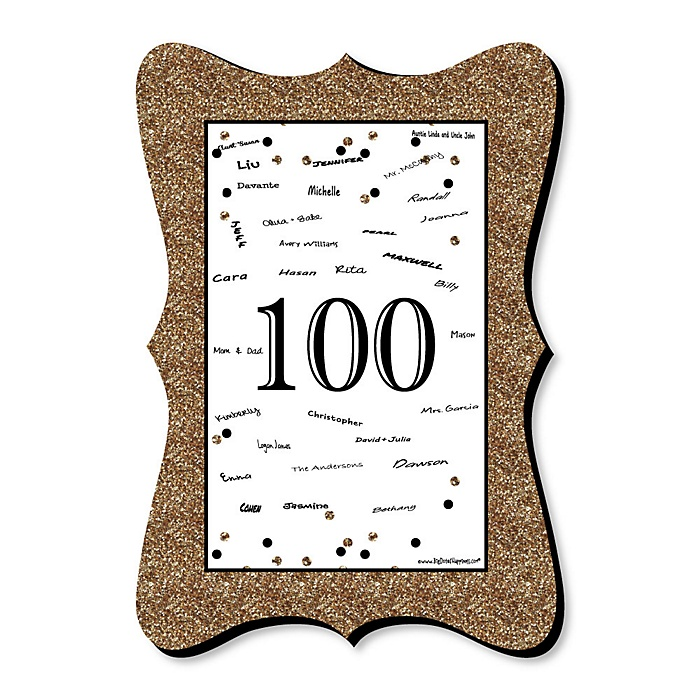 Adult 100th Birthday - Gold - Unique Alternative Guest Book - 100th Birthday Party Signature Mat