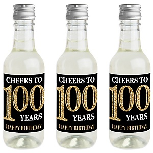 Adult 100th Birthday - Gold - Mini Wine and Champagne Bottle Label Stickers - Birthday Party Favor Gift - For Women and Men - Set of 16