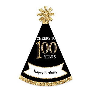 Adult 100th Birthday - Gold - Personalized Mini Cone Birthday Party Hats - Small Little Party Hats - Set of 10