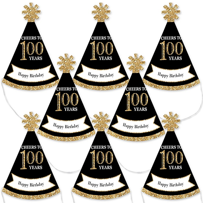 Adult 100th Birthday - Gold - Mini Cone Birthday Party Hats - Small Little Party Hats - Set of 8