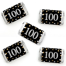 Adult 100th Birthday - Gold - Mini Candy Bar Wrapper Stickers - Birthday Party Small Favors - 40 Count