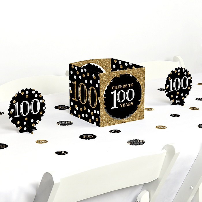 Adult 100th Birthday - Gold - Birthday Party Centerpiece and Table Decoration Kit