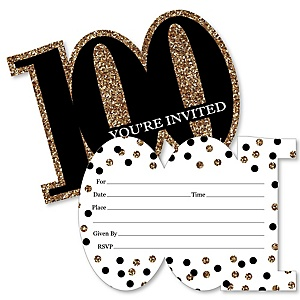 Adult 100th Birthday - Gold - Shaped Fill-In Invitations - Birthday Party Invitation Cards with Envelopes - Set of 12