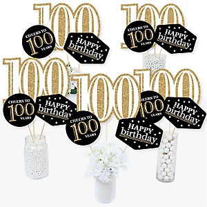 Adult 100th Birthday - Gold - Birthday Party Centerpiece Sticks - Table Toppers - Set of 15