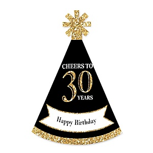Adult 30th Birthday - Gold - Personalized Mini Cone Birthday Party Hats - Small Little Party Hats - Set of 10