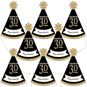 Adult 30th Birthday - Gold - Mini Cone Birthday Party Hats - Small Little Party Hats - Set of 8