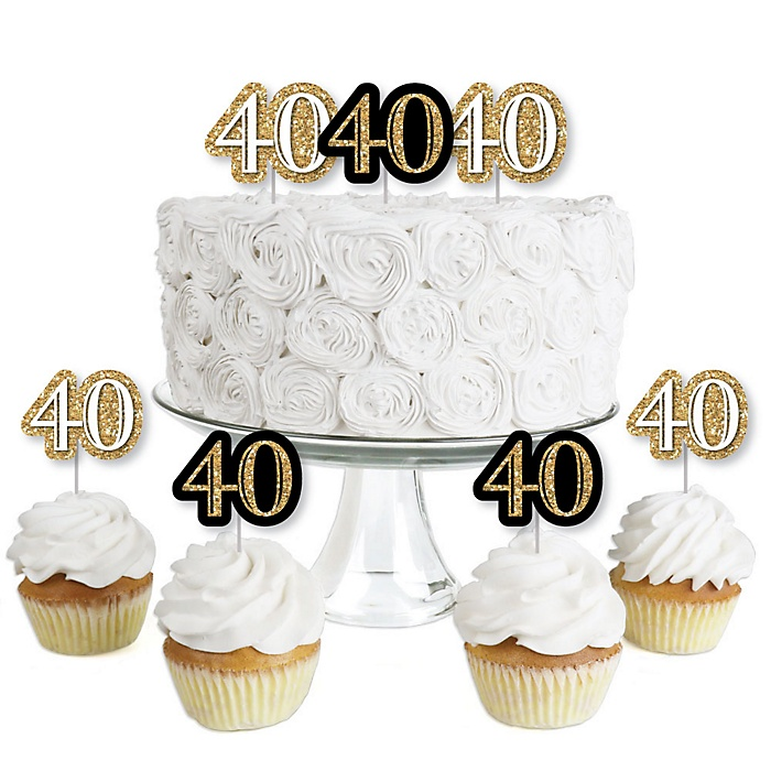 Adult 40th Birthday - Gold - Dessert Cupcake Toppers - Birthday Party Clear Treat Picks - Set of 24