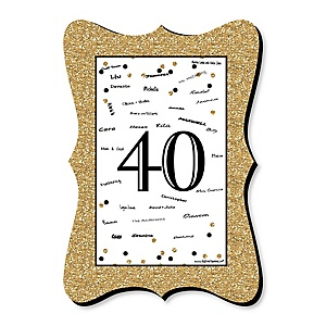 Adult 40th Birthday - Gold - Unique Alternative Guest Book - 40th Birthday Party Signature Mat