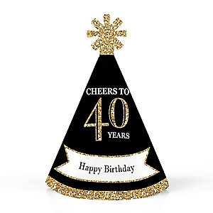 Adult 40th Birthday - Gold - Personalized Mini Cone Birthday Party Hats - Small Little Party Hats - Set of 10