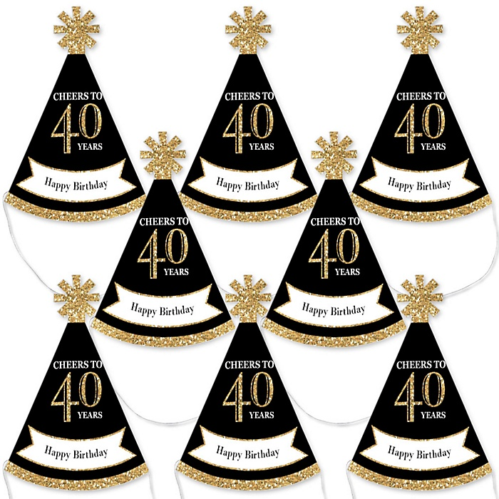 Adult 40th Birthday - Gold - Mini Cone Birthday Party Hats - Small Little Party Hats - Set of 8