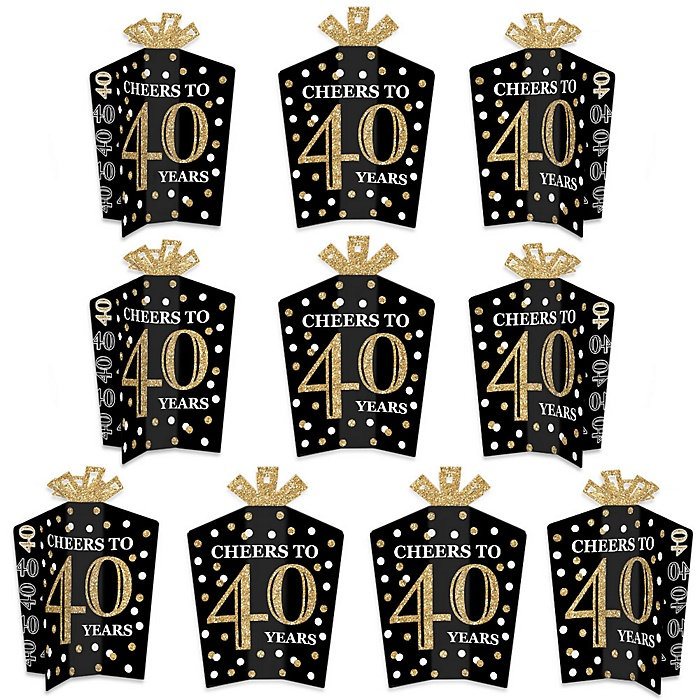 Adult 40th Birthday - Gold - Table Decorations - Birthday Party Fold and Flare Centerpieces - 10 Count