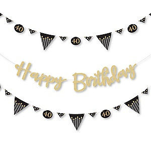 Adult 40th Birthday - Gold - Birthday Party Letter Banner Decoration - 36 Banner Cutouts and No-Mess Real Gold Glitter Happy Birthday Banner Letters