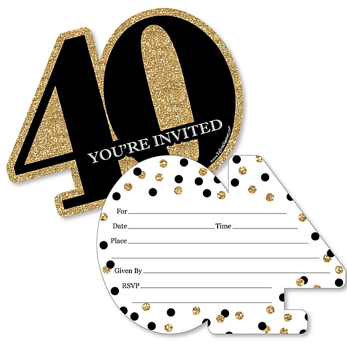 Adult 40th Birthday - Gold - Shaped Fill-In Invitations - Birthday Party Invitation Cards with Envelopes - Set of 12
