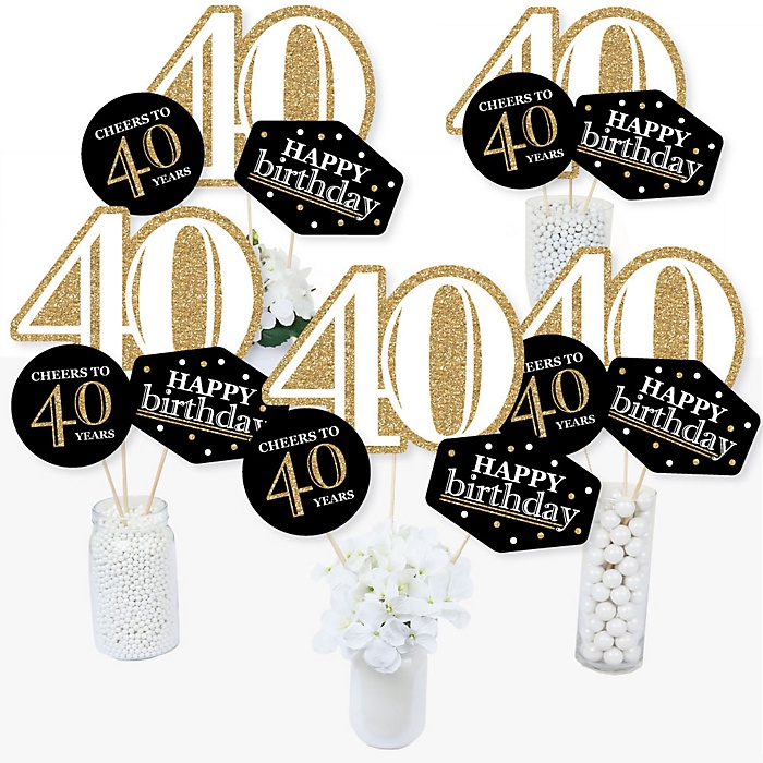 Adult 40th Birthday - Gold - Birthday Party Centerpiece Sticks - Table Toppers - Set of 15