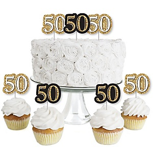 Adult 50th Birthday - Gold - Dessert Cupcake Toppers - Birthday Party Clear Treat Picks - Set of 24