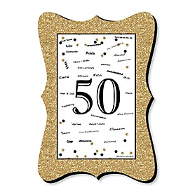 Adult 50th Birthday - Gold - Unique Alternative Guest Book - 50th Birthday Party Signature Mat