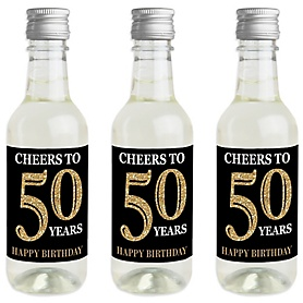 Adult 50th Birthday - Gold - Mini Wine and Champagne Bottle Label Stickers - Birthday Party Favor Gift - For Women and Men - Set of 16