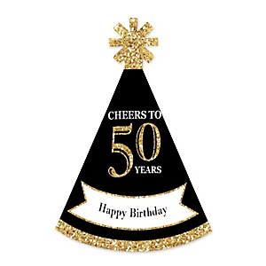 Adult 50th Birthday - Gold - Personalized Mini Cone Birthday Party Hats - Small Little Party Hats - Set of 10