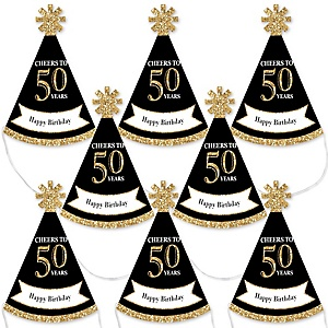 Adult 50th Birthday - Gold - Mini Cone Birthday Party Hats - Small Little Party Hats - Set of 8