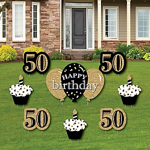 Adult 50th Birthday - Gold - Yard Sign & Outdoor Lawn Decorations - Birthday Party Yard Signs - Set of 8