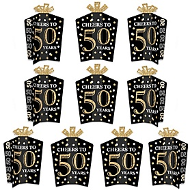 Adult 50th Birthday - Gold - Table Decorations - Birthday Party Fold and Flare Centerpieces - 10 Count