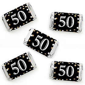 Adult 50th Birthday - Gold - Mini Candy Bar Wrapper Stickers - Birthday Party Small Favors - 40 Count